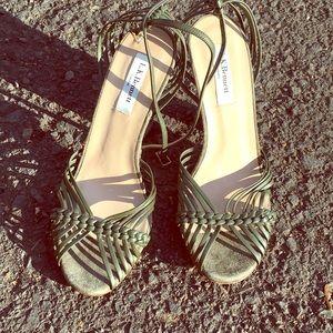LK Bennett olive suede high heels